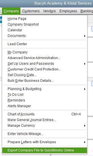 Export to QuickBooks Online